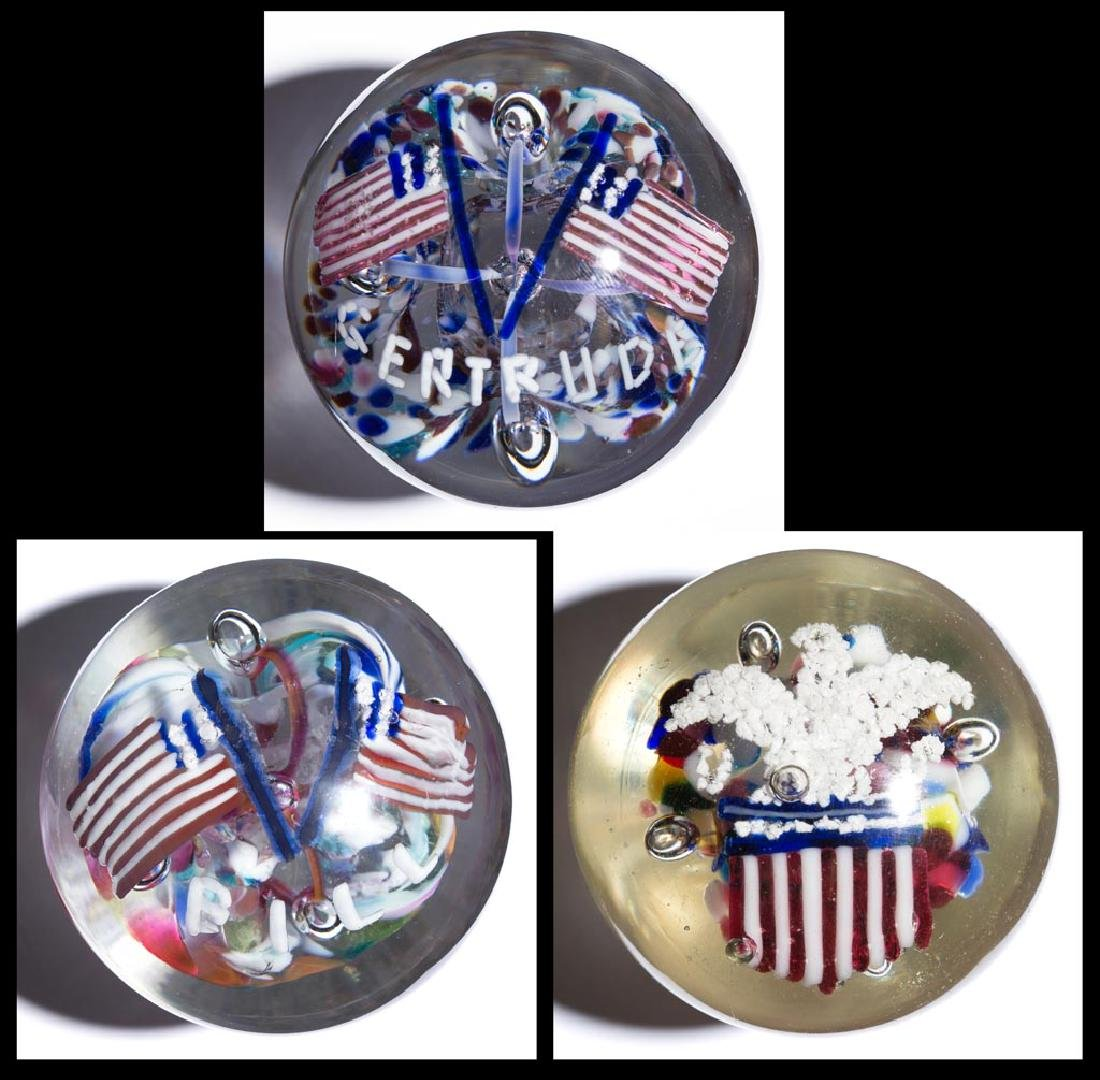 ASSORTED PATRIOTIC FRIT PAPERWEIGHTS, LOT OF THREE