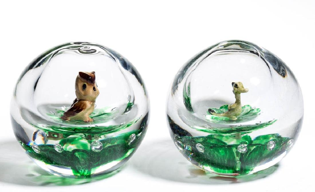 DEGENHART FIGURAL CENTRAL BUBBLE PAPERWEIGHTS, LOT OF