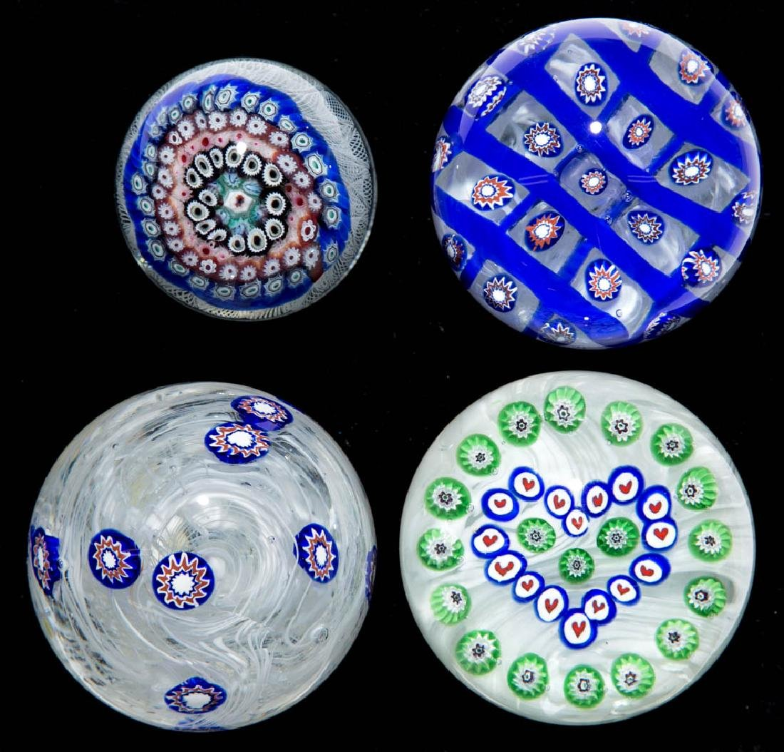 ASSORTED MILLEFIORI PAPERWEIGHTS, LOT OF FOUR