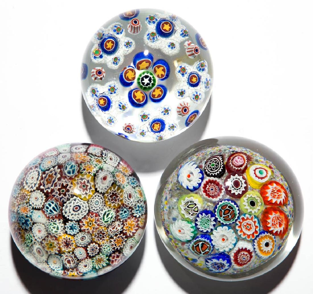 ASSORTED MILLEFIORI MAGNUM PAPERWEIGHTS, LOT OF THREE