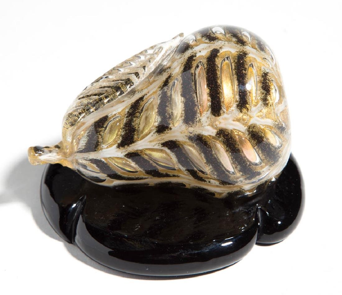 MURANO AVENTURINE DECORATED PEAR-FORM PAPERWEIGHT