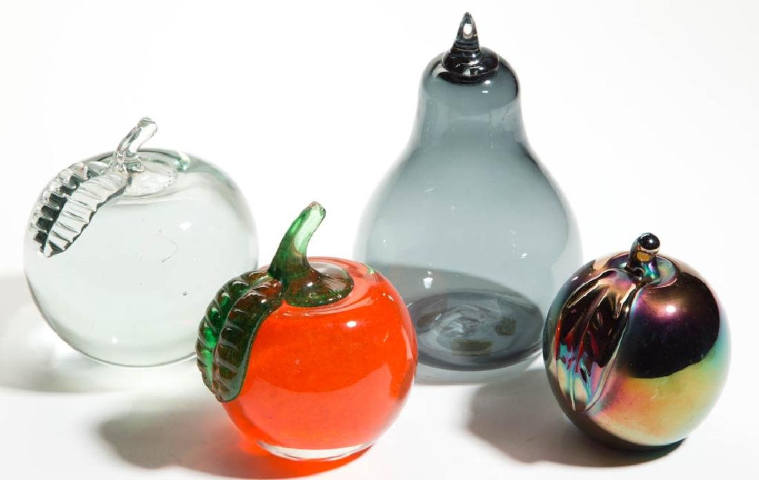 ASSORTED FIGURAL FRUIT PAPERWEIGHTS, LOT OF FOUR