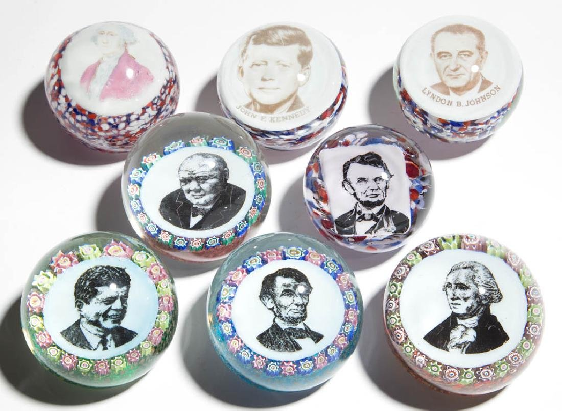 ASSORTED PRESIDENTIAL FRIT AND MILLEFIORI PAPERWEIGHTS,