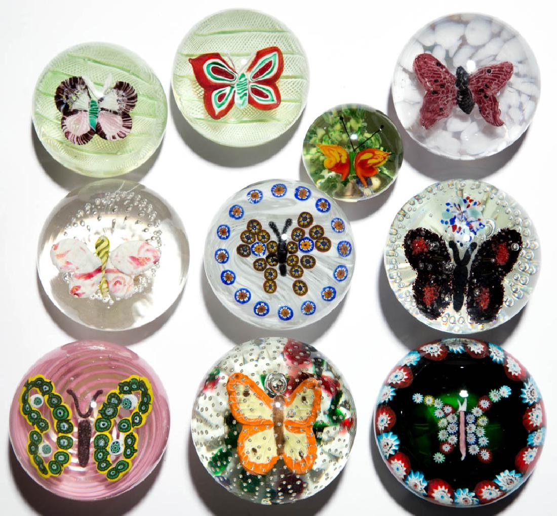 ASSORTED BUTTERFLY PAPERWEIGHTS, LOT OF TEN
