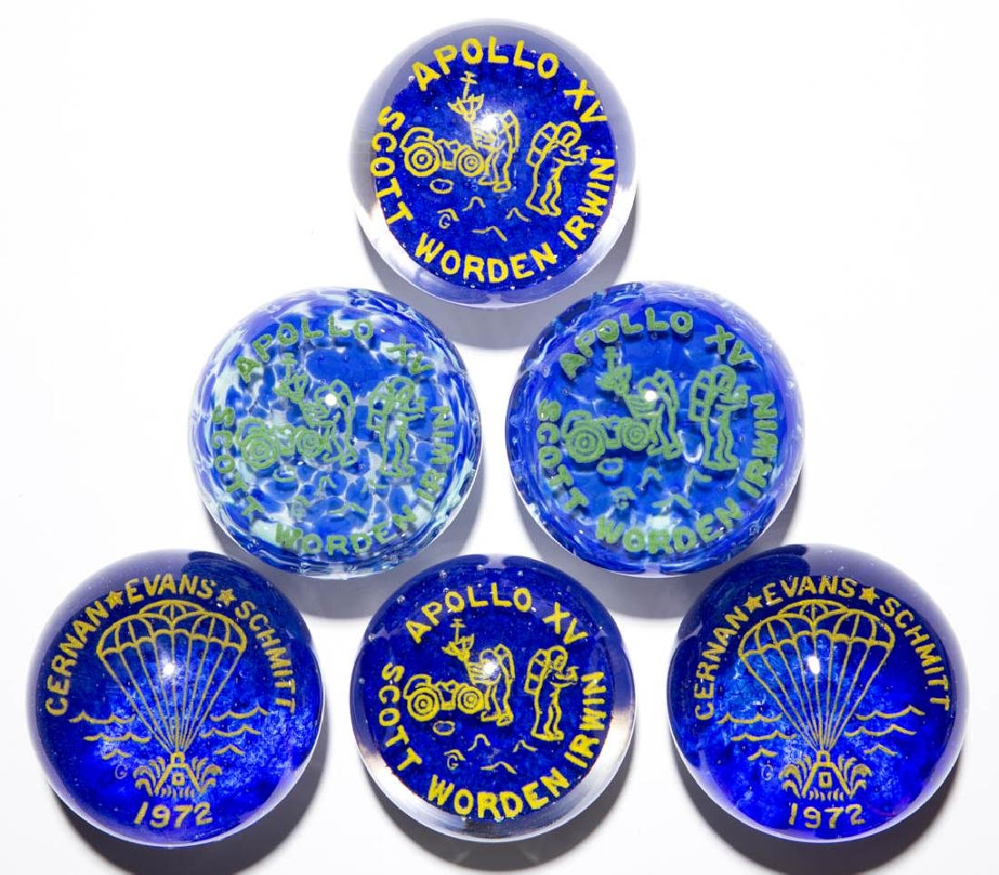APOLLO 13 AND APOLLO 15 FRIT PAPERWEIGHTS, LOT OF SIX