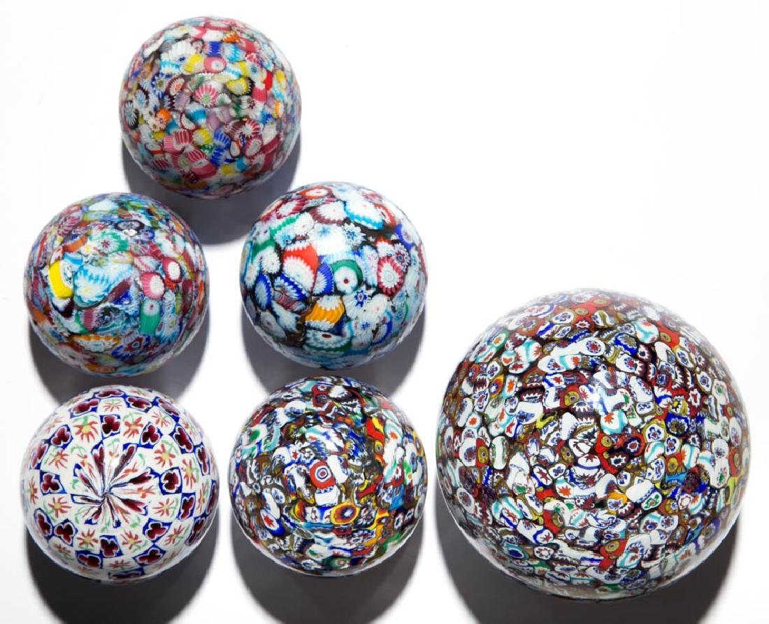 ASSORTED MILLEFIORI PAPERWEIGHTS, LOT OF SIX