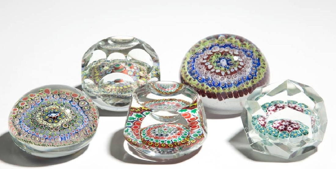 ASSORTED MILLEFIORI PAPERWEIGHTS, LOT OF FIVE