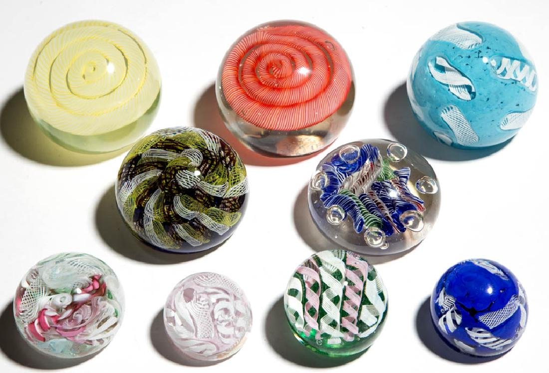 ASSORTED FILIGREE PAPERWEIGHTS, LOT OF NINE