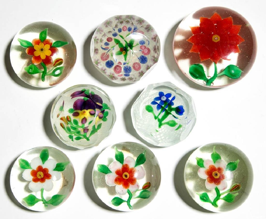ASSORTED CHINESE LAMPWORK PAPERWEIGHTS, LOT OF EIGHT