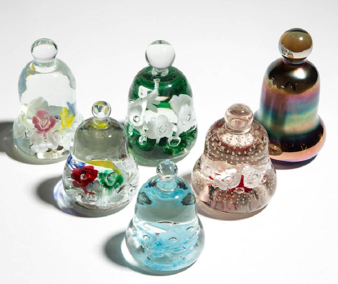 ASSORTED BELL-FORM PAPERWEIGHTS, LOT OF SIX