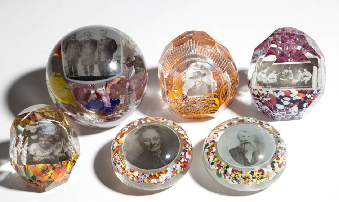 ASSORTED PHOTOGRAPH PLAQUE PAPERWEIGHTS, LOT OF SIX