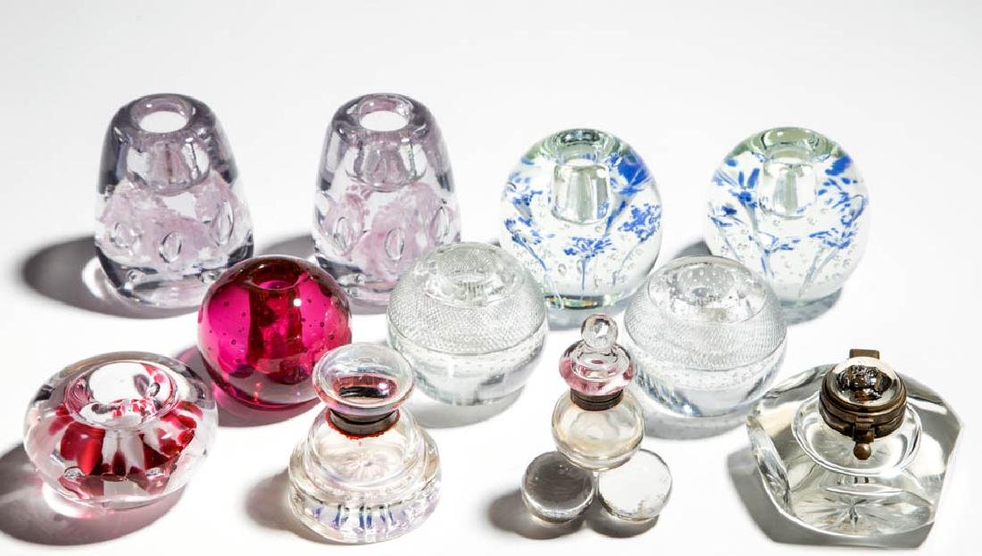 ASSORTED GLASS PAPERWEIGHT CANDLE HOLDERS / INKWELLS,