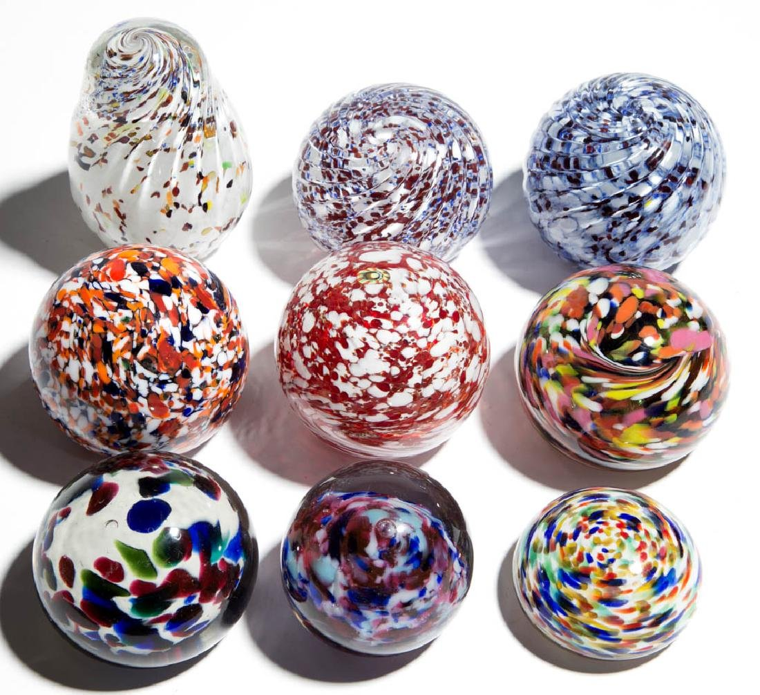 ASSORTED MOTTLED GLASS PAPERWEIGHTS, LOT OF NINE