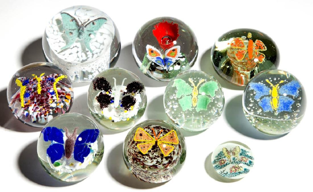 ASSORTED BUTTERFLY GLASS PAPERWEIGHTS, LOT OF TEN