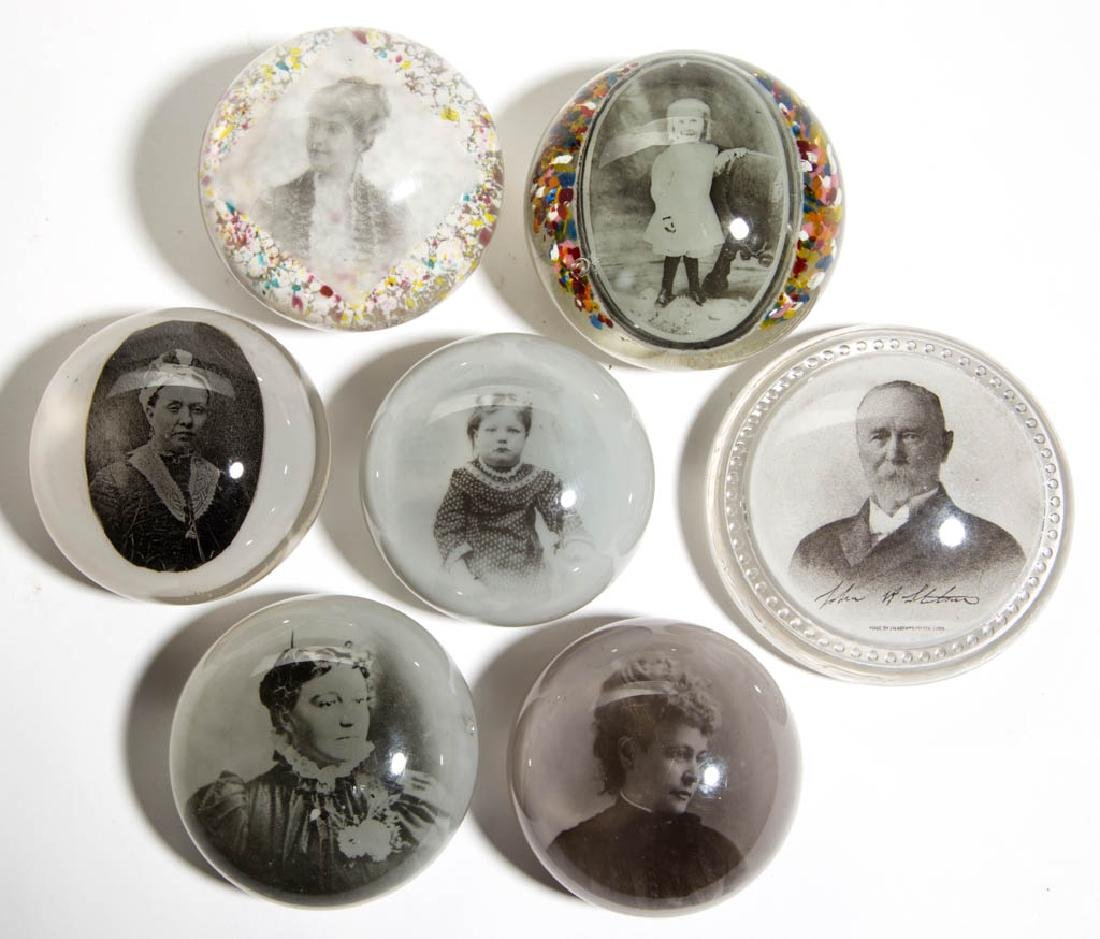 ASSORTED PORTRAIT GLASS PAPERWEIGHTS, LOT OF SEVEN