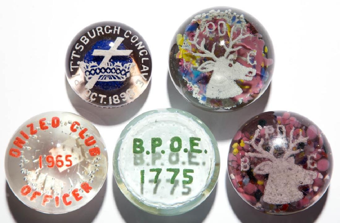 ASSORTED FRATERNAL ORGANIZATION FRIT PAPERWEIGHTS, LOT