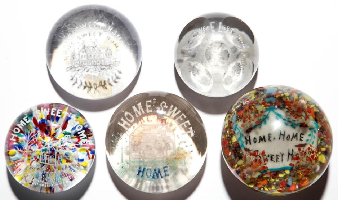 "ASSORTED ""HOME SWEET HOME"" PAPERWEIGHTS, LOT OF FIVE"