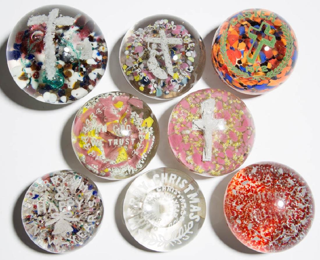 ASSORTED RELIGIOUS / HOLIDAY FRIT PAPERWEIGHTS, LOT OF