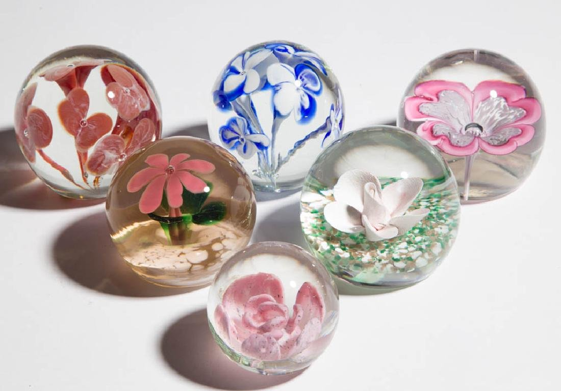 ASSORTED FLORAL PAPERWEIGHTS, LOT OF SIX