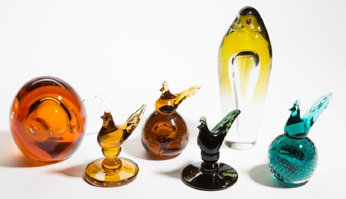 ASSORTED FIGURAL GLASS PAPERWEIGHTS, LOT OF SIX