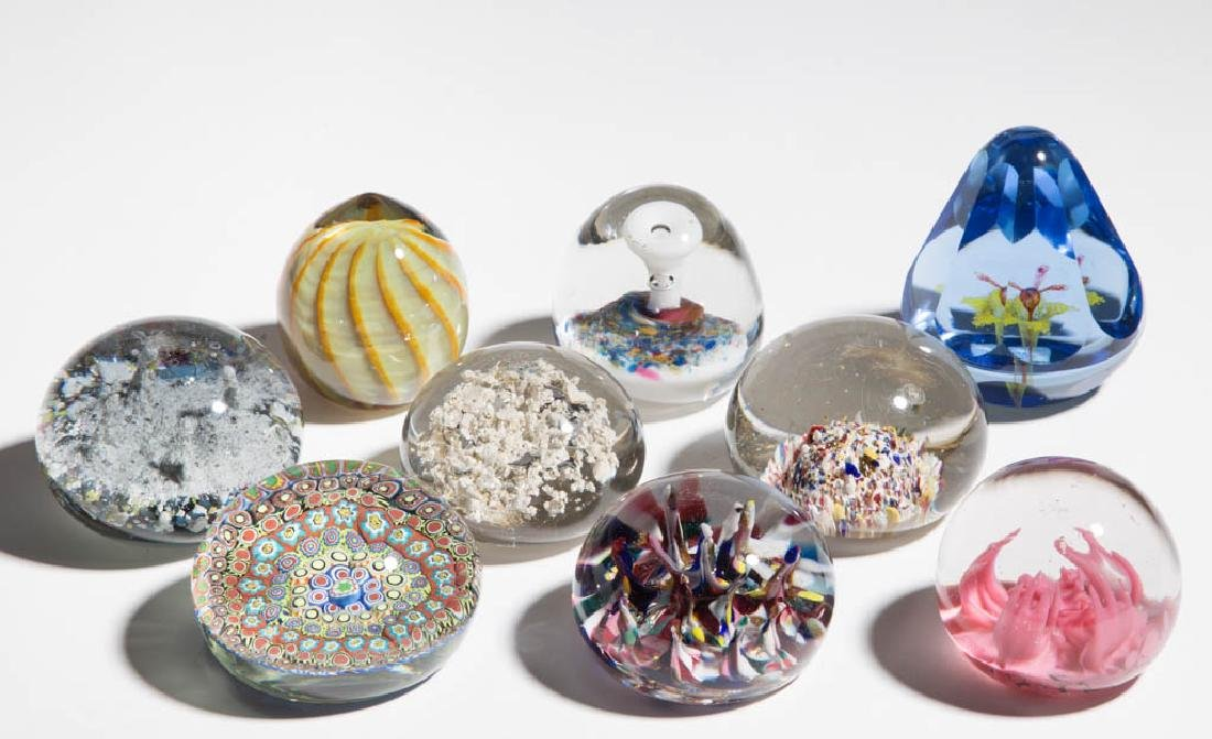 ASSORTED GLASS PAPERWEIGHTS, LOT OF NINE