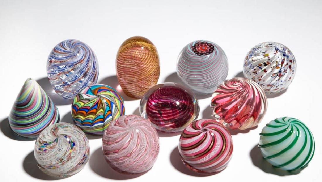ASSORTED SWIRL PAPERWEIGHTS, LOT OF 12