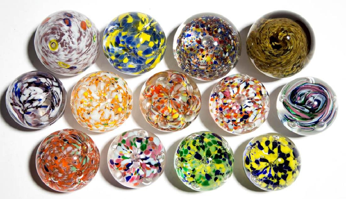 ASSORTED MOTTLED GLASS PAPERWEIGHTS, LOT OF 13