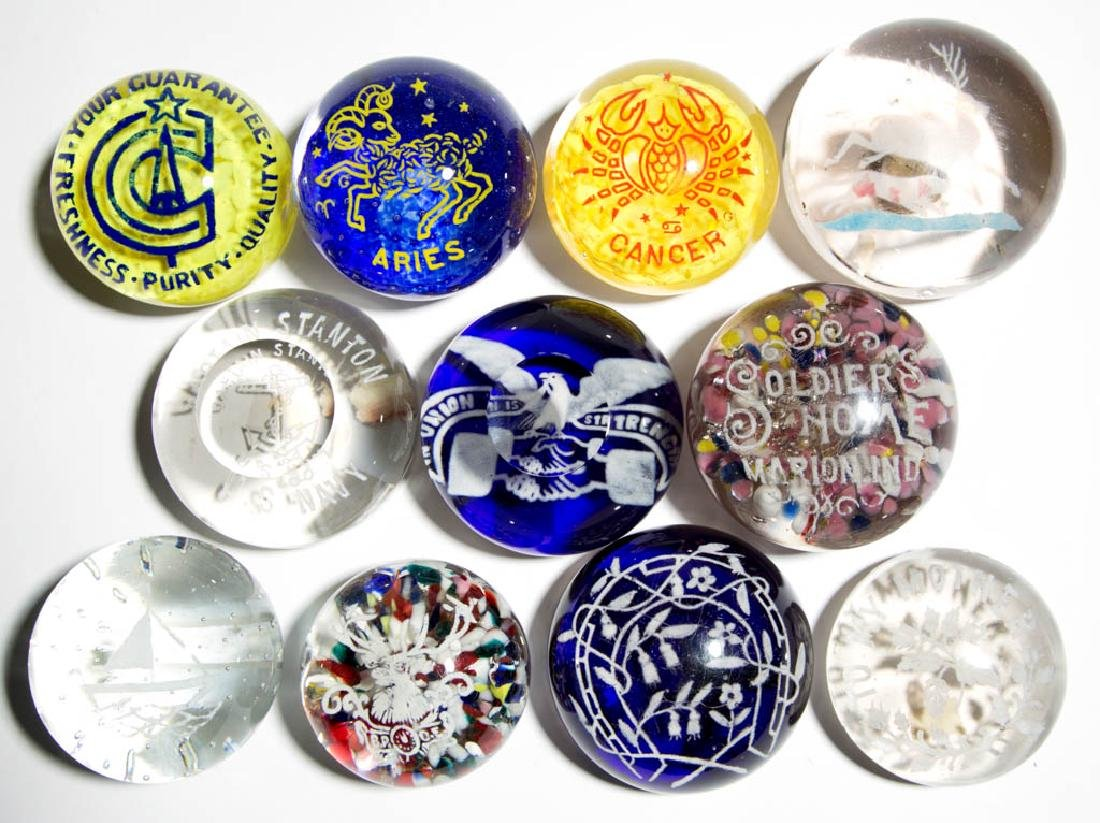 ASSORTED FRIT GLASS PAPERWEIGHTS, LOT OF 11