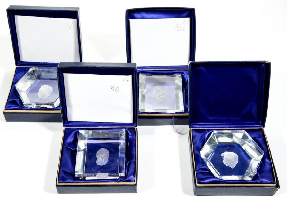 KOSTA BODA ENGRAVED GLASS PAPERWEIGHTS, LOT OF FOUR