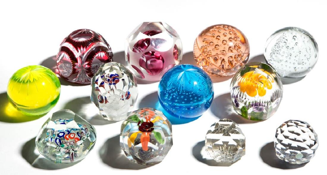 ASSORTED CUT GLASS PAPERWEIGHTS, LOT OF 12