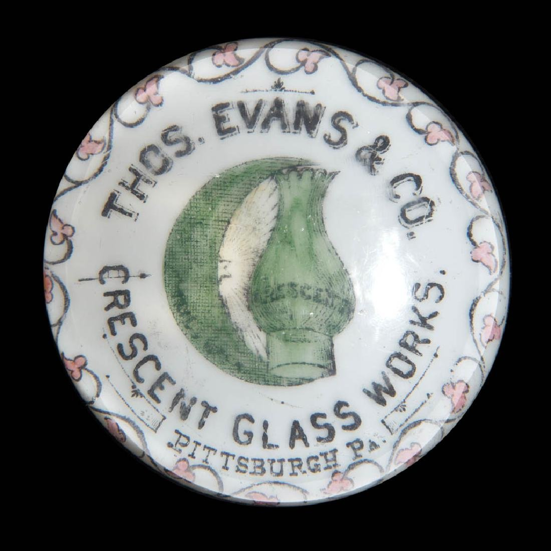CRESCENT GLASS WORKS ADVERTISING PAPERWEIGHT