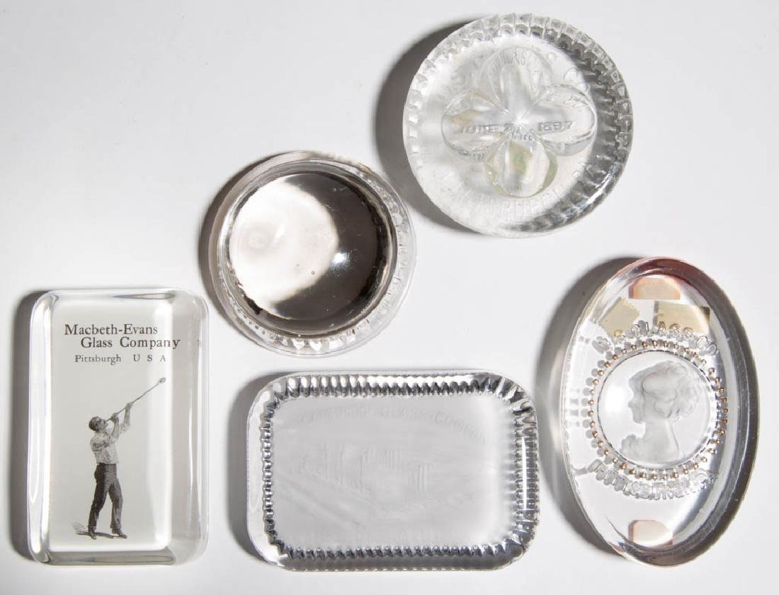 AMERICAN GLASS COMPANY ADVERTISING PAPERWEIGHTS, LOT OF