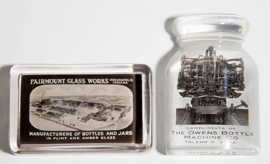 AMERICAN GLASS BOTTLE COMPANY ADVERTISING PAPERWEIGHTS,