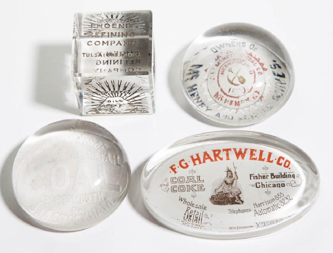 ASSORTED FUELS ADVERTISING PAPERWEIGHTS, LOT OF FOUR