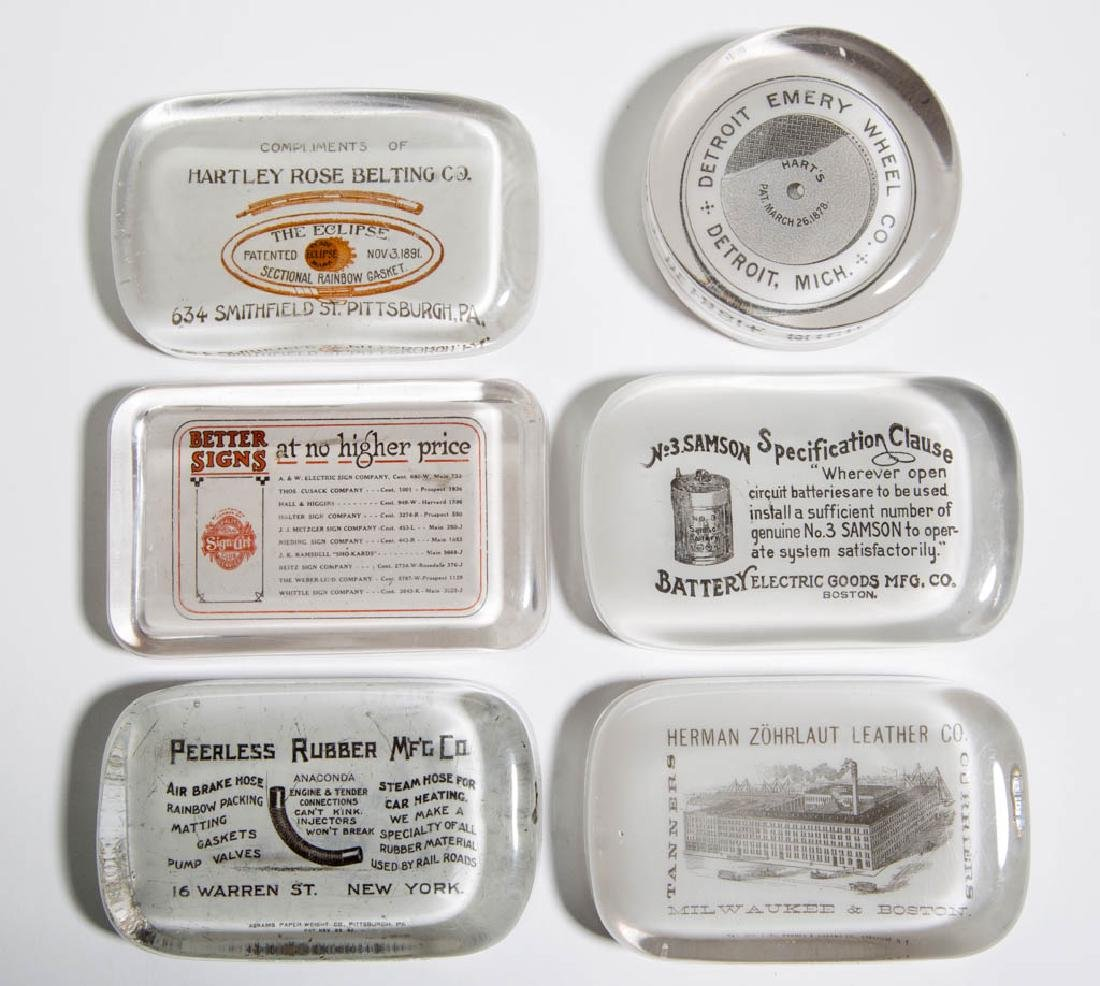 ASSORTED ADVERTISING PAPERWEIGHTS, LOT OF SIX