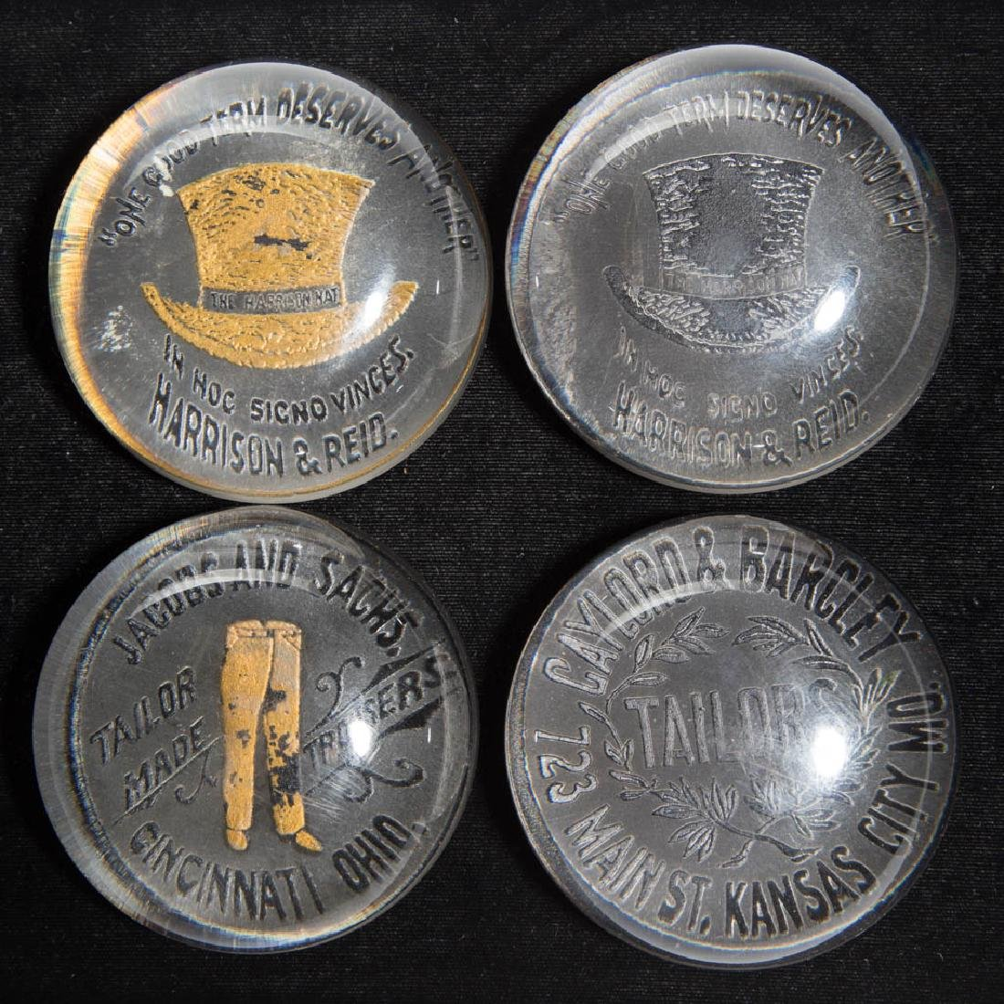 ASSORTED CLOTHING RELATED ADVERTISING PAPERWEIGHTS, LOT