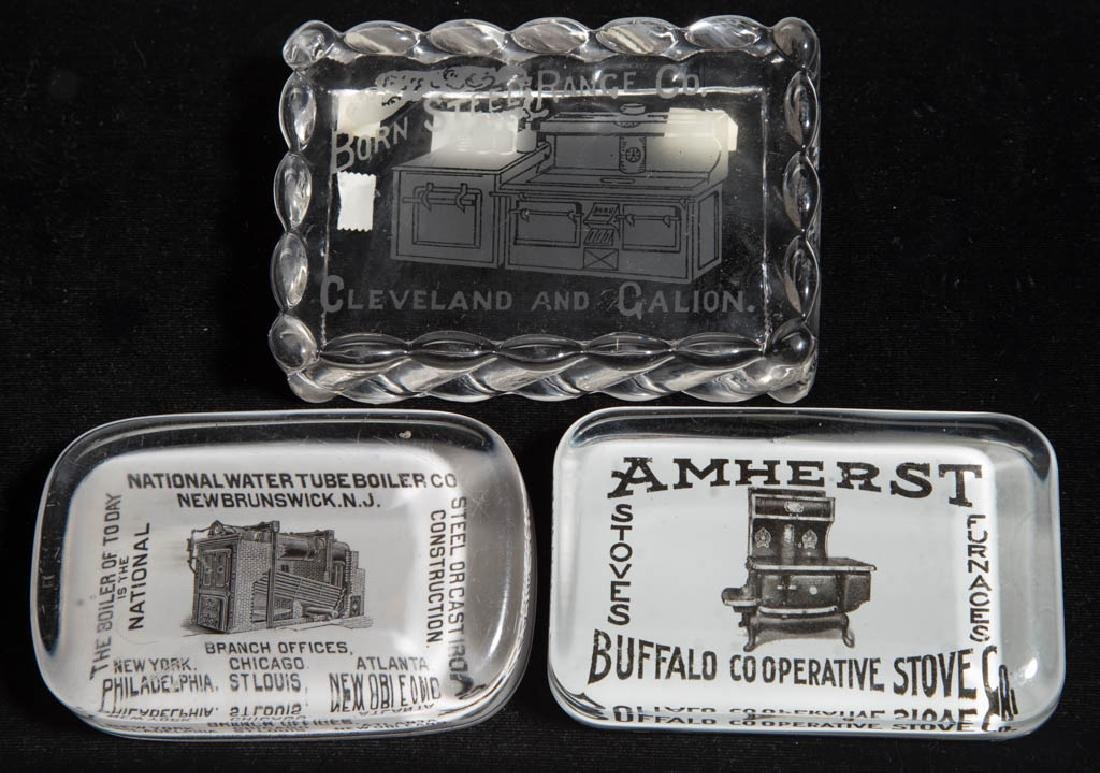 STOVE / FURNACE ADVERTISING PAPERWEIGHTS, LOT OF THREE