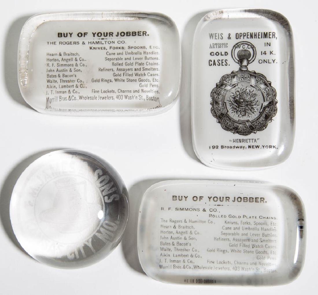 ASSORTED JEWELRY / CHINA ADVERTISING PAPERWEIGHTS, LOT