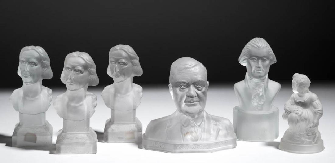 ASSORTED HISTORICAL PRESSED GLASS FIGURES / BUSTS, LOT