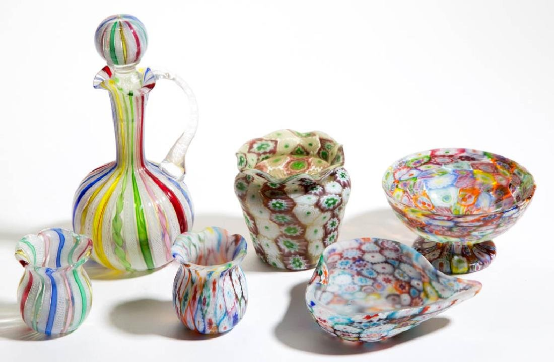 ASSORTED MURANO GLASS ARTICLES, LOT OF SIX