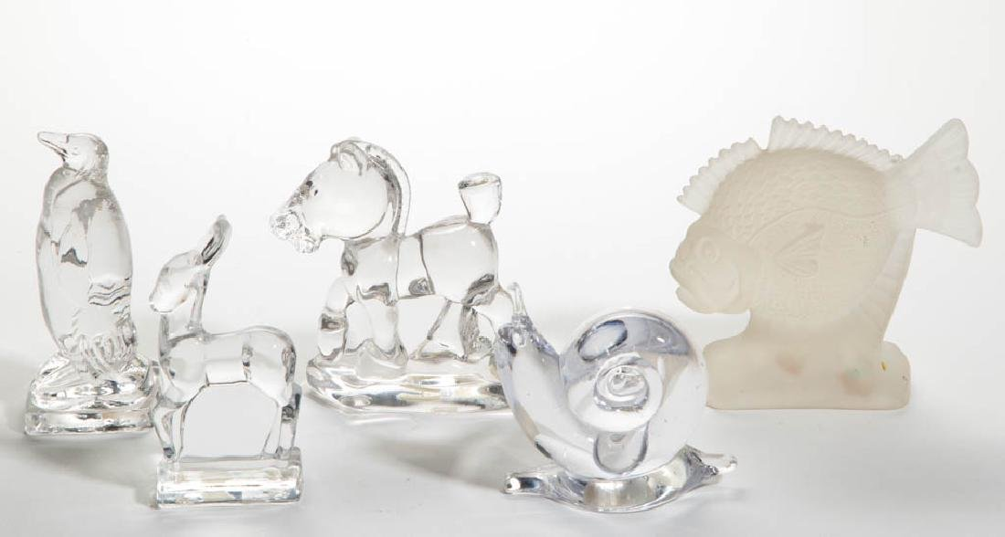 ASSORTED ANIMAL GLASS FIGURES, LOT OF FIVE
