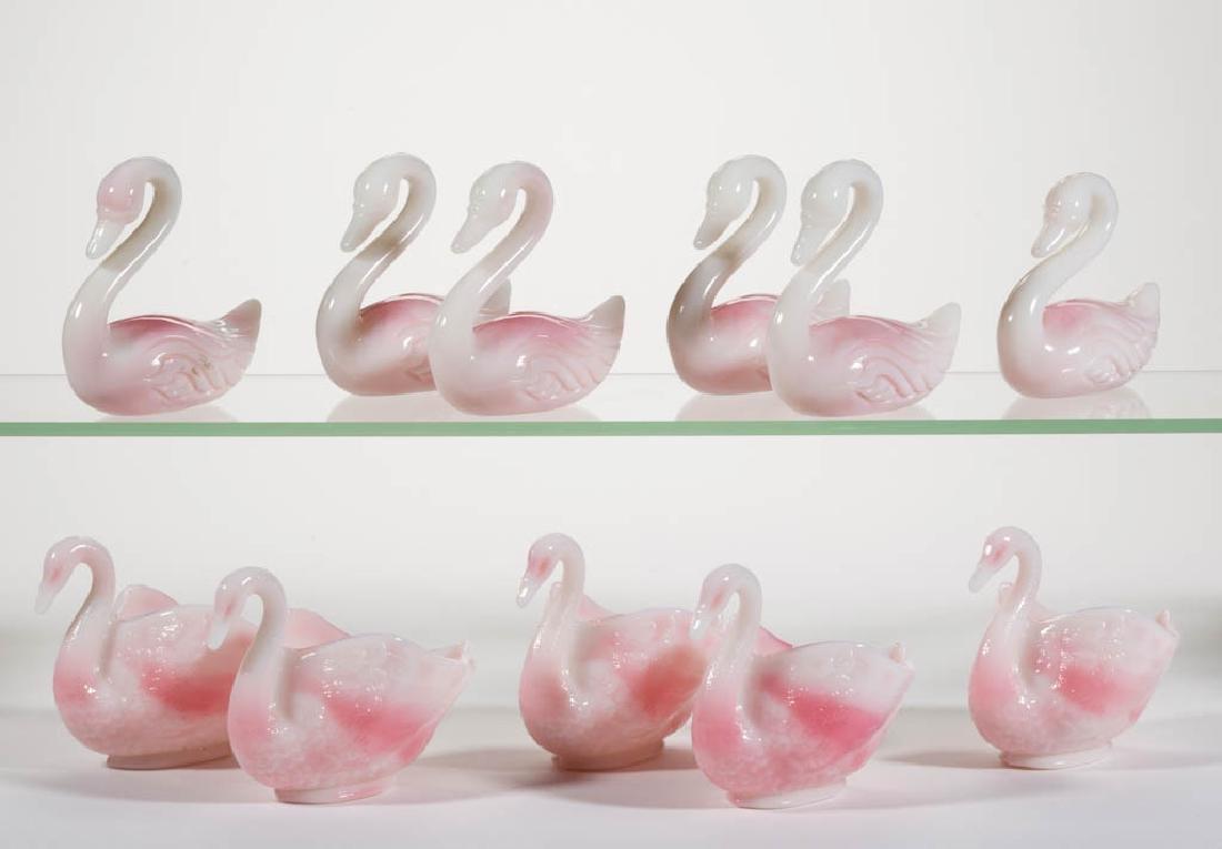 FENTON ROSALENE PRESSED GLASS FIGURAL SWAN ARTICLES,