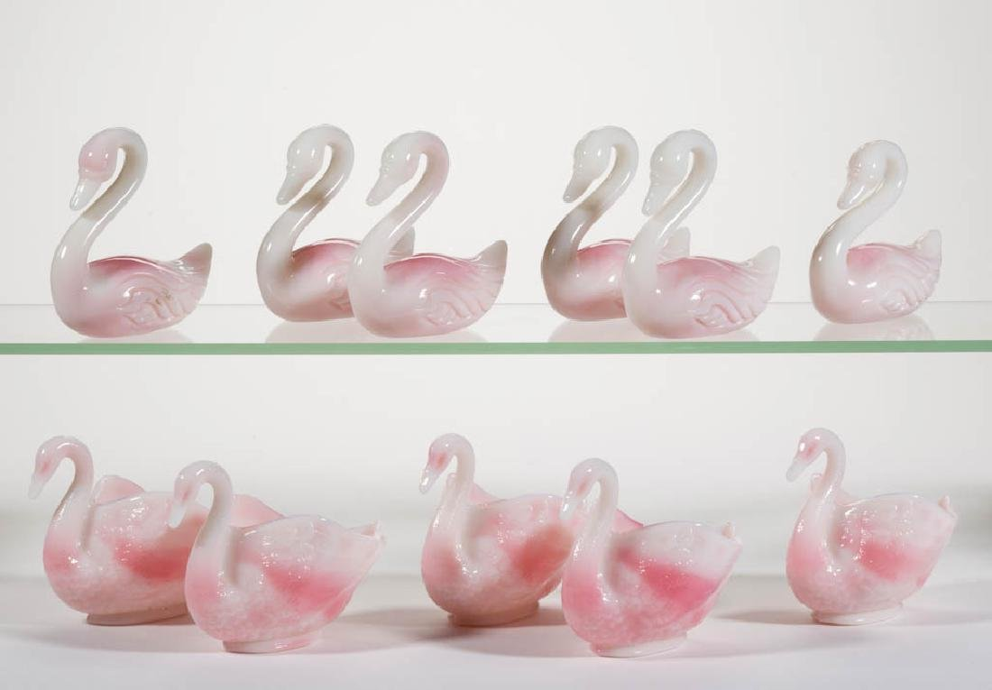 FENTON ROSALENE PRESSED GLASS FIGURAL SWAN ARTICLES,