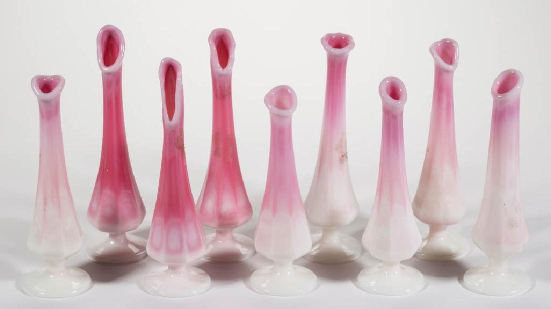 FENTON ROSALENE PRESSED GLASS SWUNG VASES, LOT OF NINE