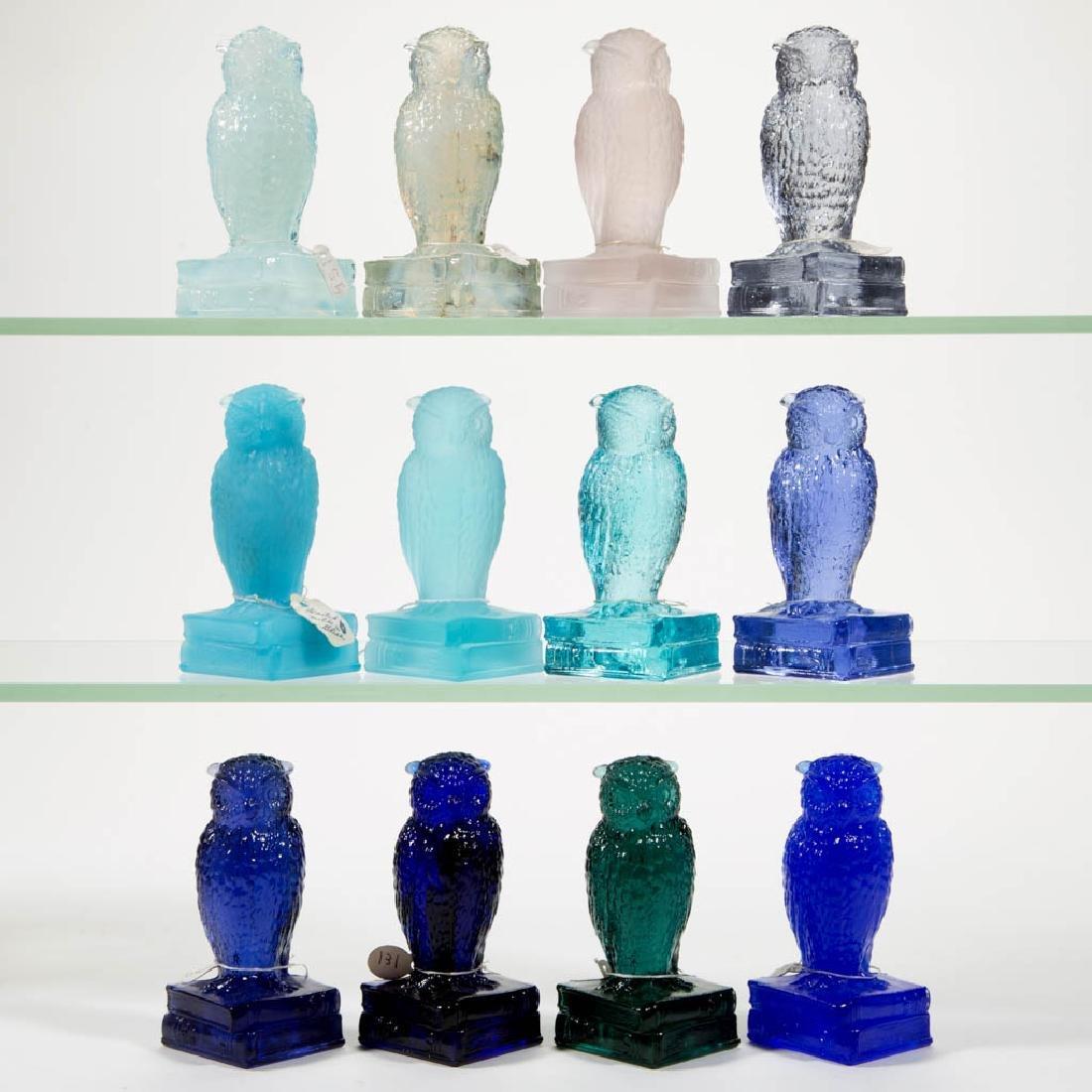 DEGENHART GLASS OWL FIGURES, LOT OF 12