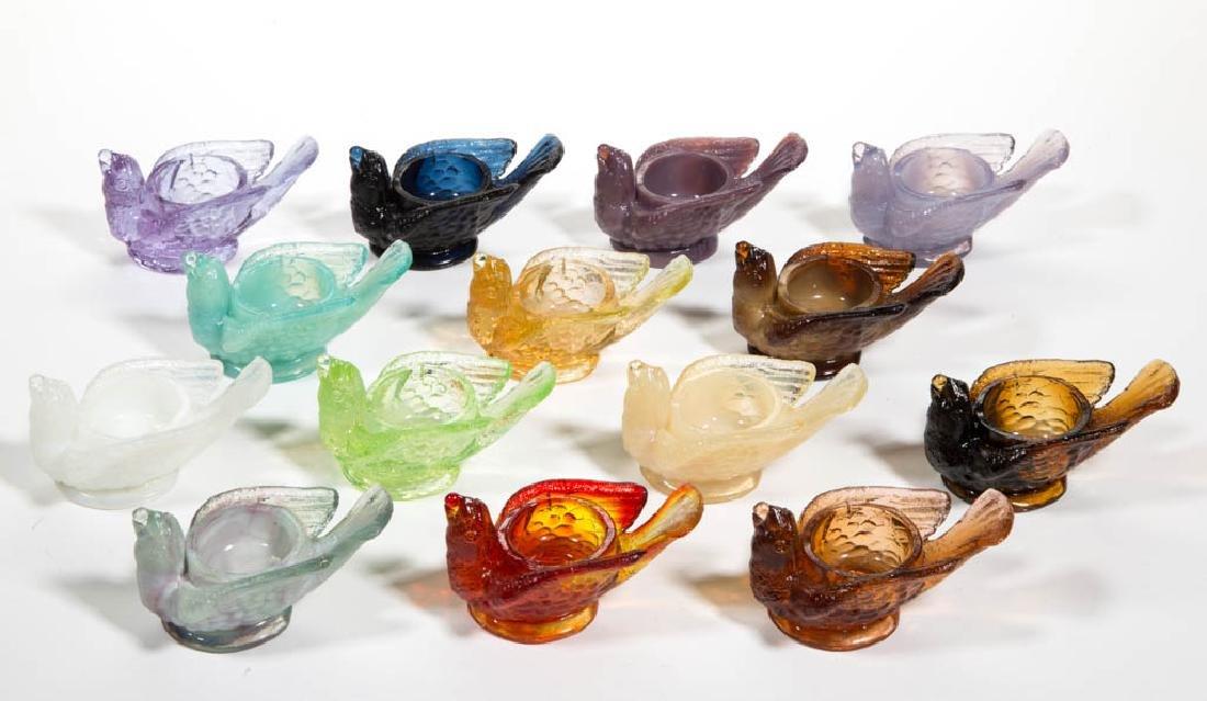 DEGENHART GLASS BIRD WITH BERRY OPEN SALTS, LOT OF 14