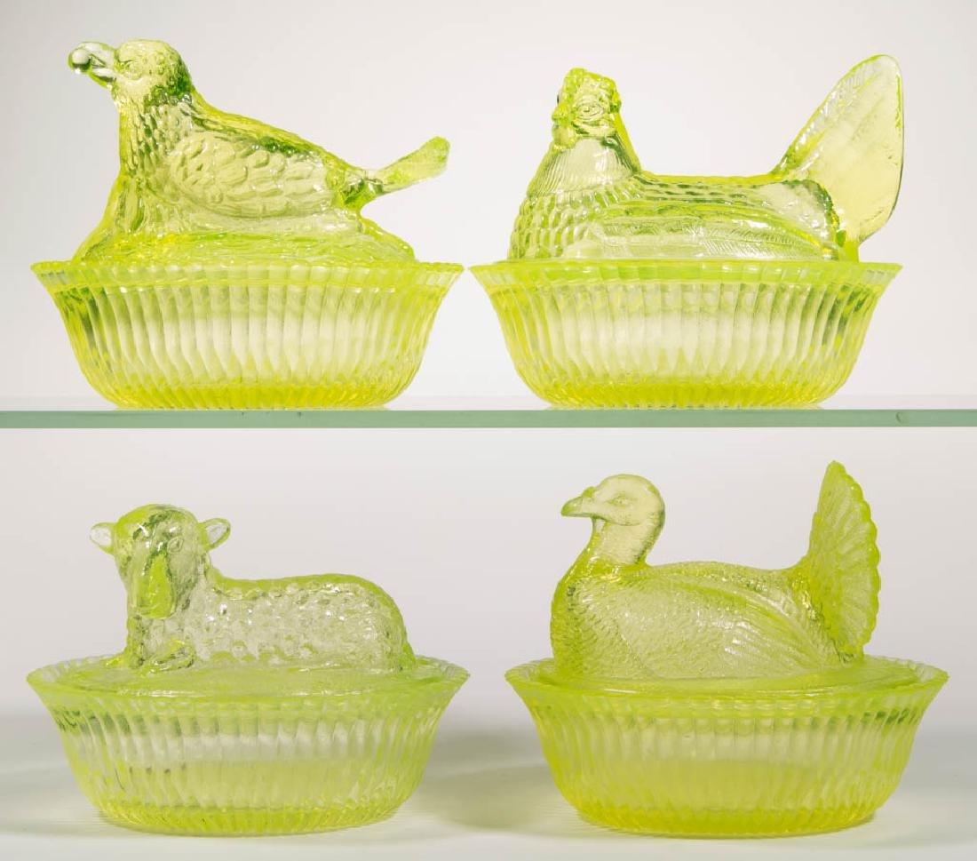 DEGENHART GLASS COVERED DISHES, LOT OF FOUR