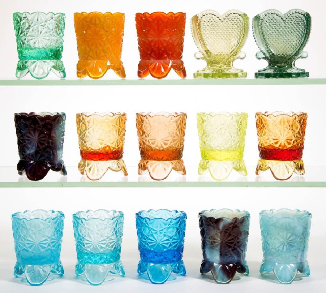 DEGENHART GLASS ASSORTED TOOTHPICK HOLDERS, LOT OF 15