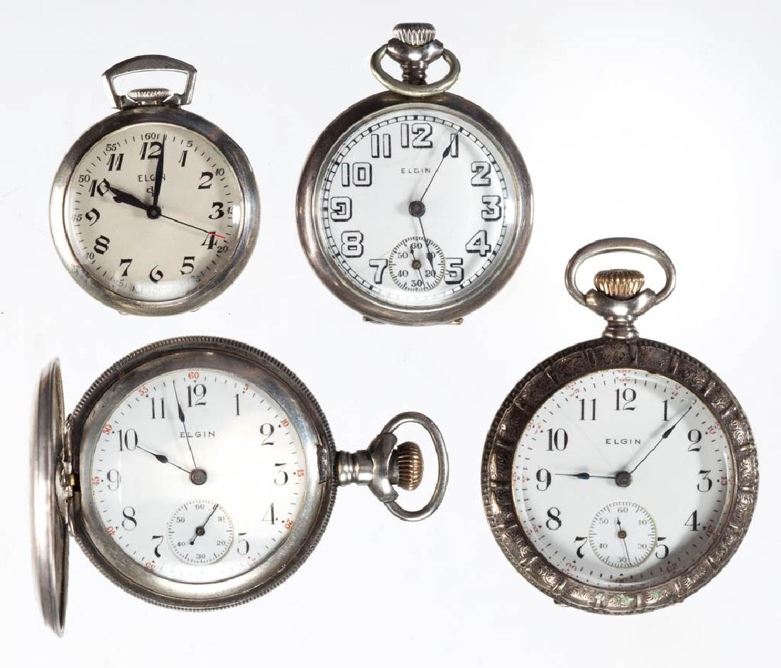ASSORTED ELGIN SILVER CASE POCKET WATCHES, LOT OF FOUR