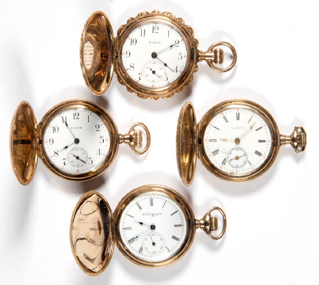ELGIN 15-JEWEL MODEL 2 POCKET WATCHES, LOT OF FOUR